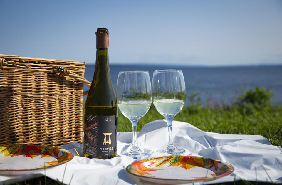 Bottle of Trestle Thirty One Riesling in a Picnic Setting in the Finger Lakes