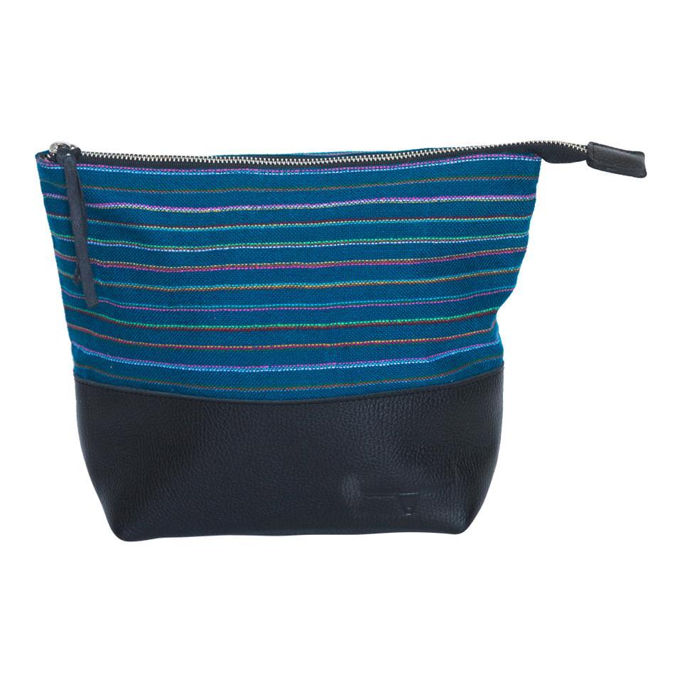 Blue-stripe clutch by Frankie Cameron