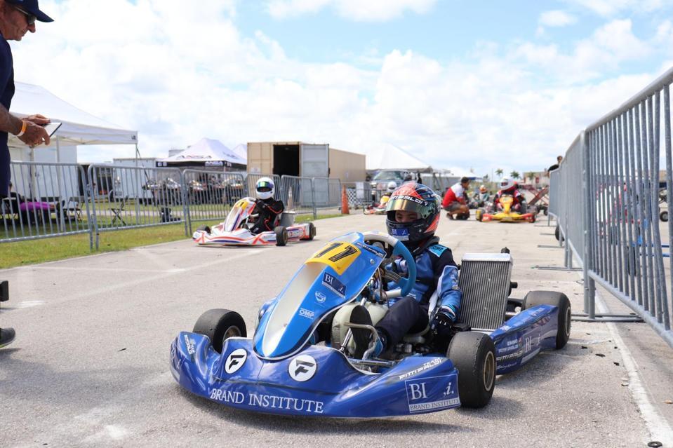 Emmo Fittipaldi revs up his new Brand Institute Formula 4 kart