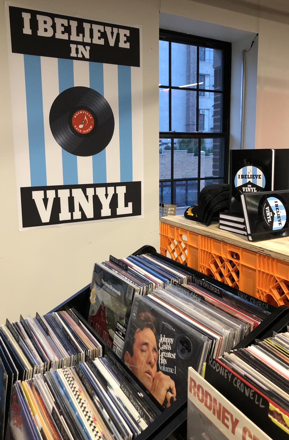 Some of the records reflecting artists with a Nashville connection on display in Pop-up store in New York