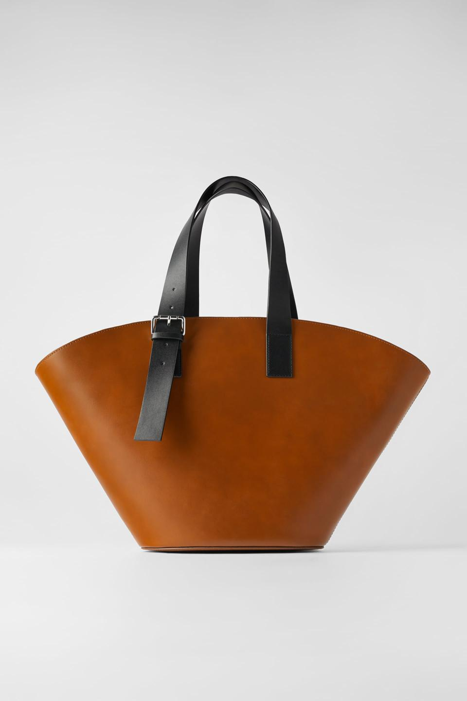 Zara Extra Large Leather Tote in Natural