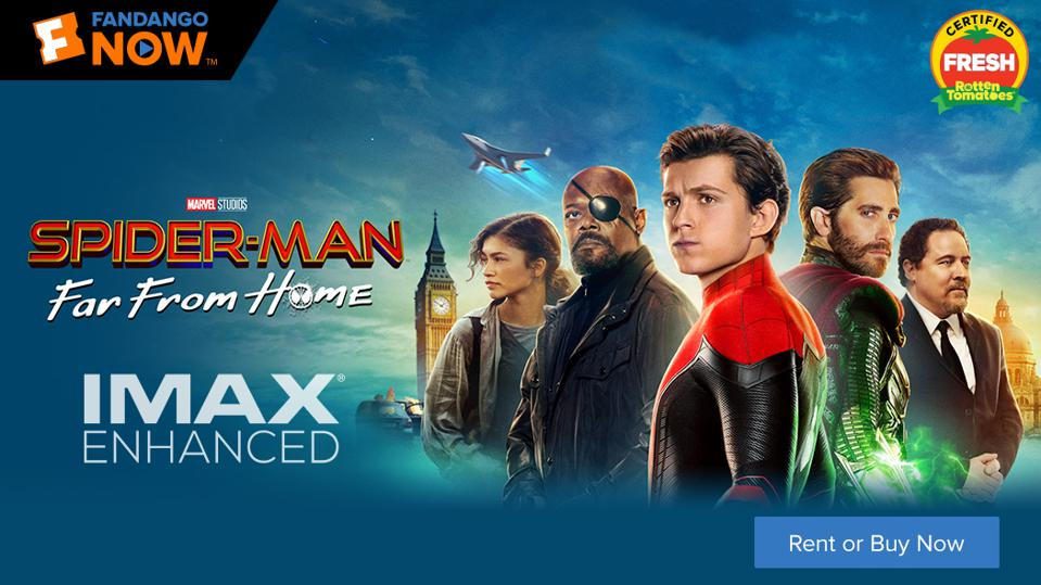 Spider-Man: Far From Home's FandangoNOW header page.