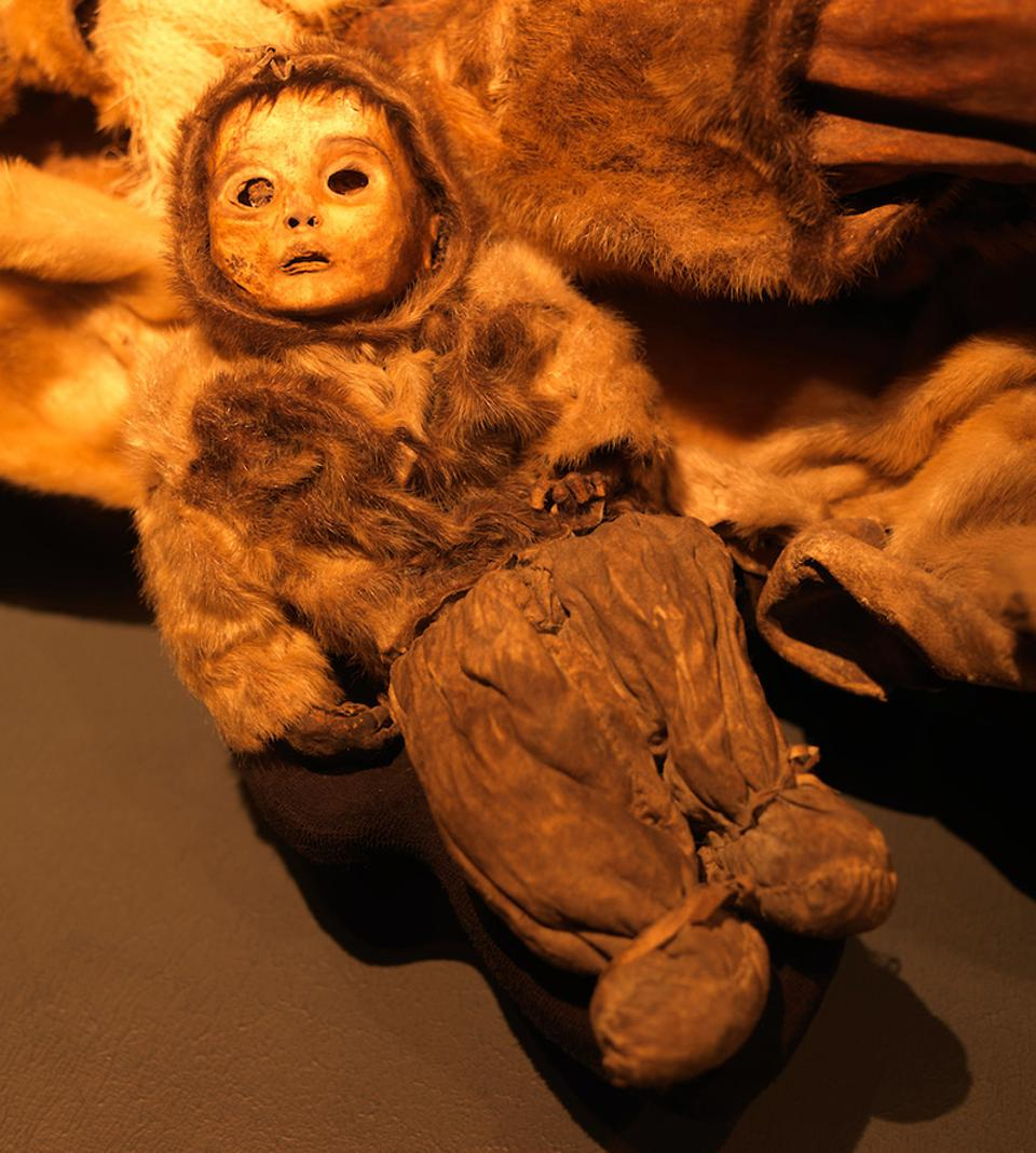 One of the mummies on display at the Greenland National Museum in Nuuk.