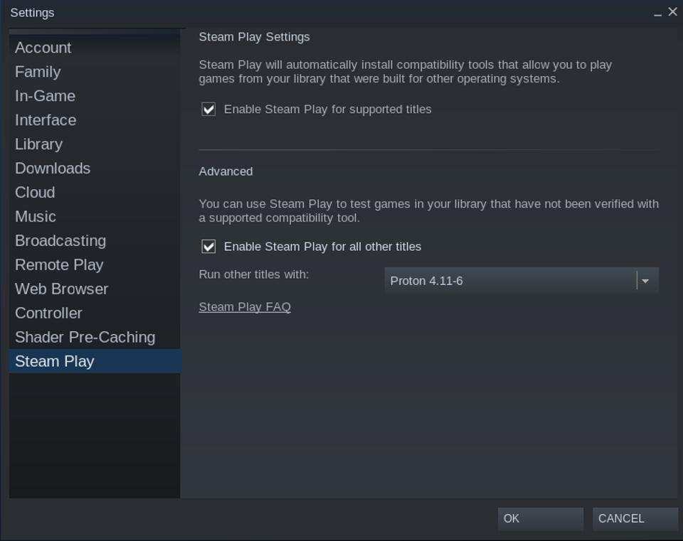 Enabling Steam Play compatibility on Linux