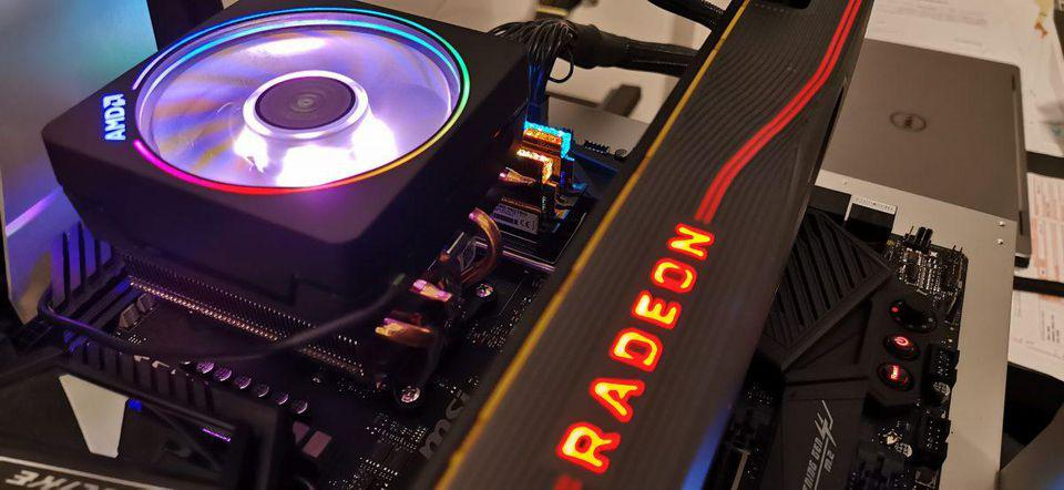 Pictured: Radeon 5700 XT and AMD Ryzen 9 3900X.
