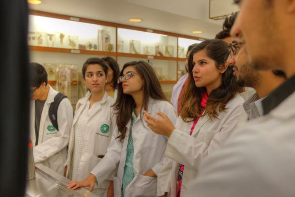 Female students studying medicine at the Aga Khan University.