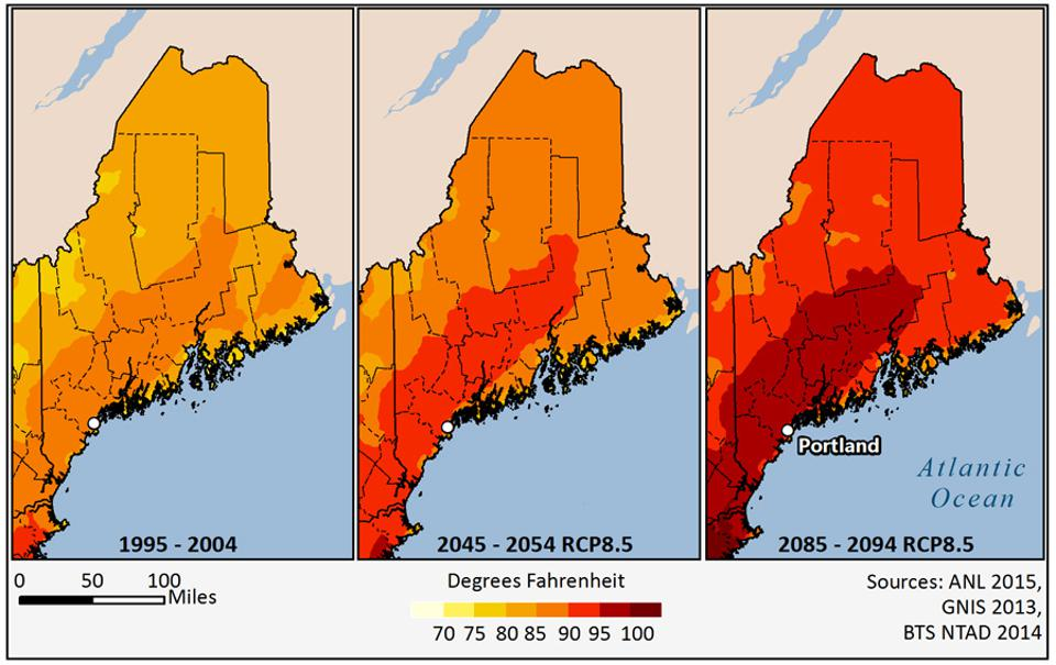 Projected temperature increases in Portland, Maine.