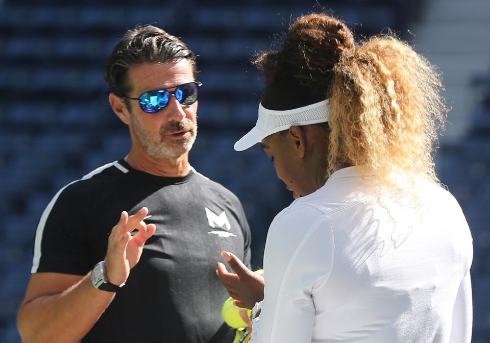 Leading tennis coach Patrick Mouratoglou with his client Serena Williams