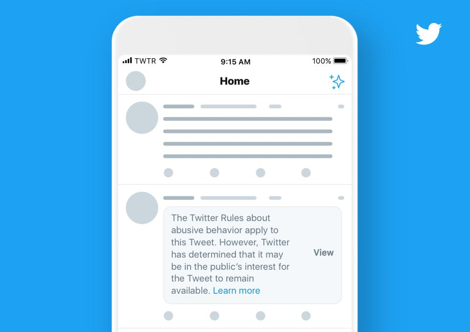 Twitter announced it will place a warning label over some tweets that violate its rules.