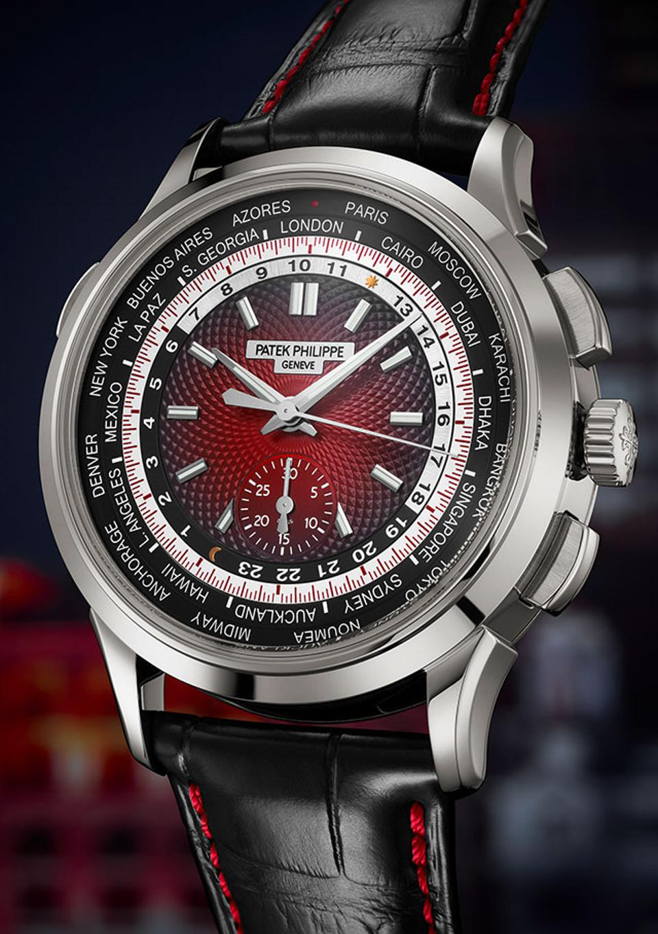 The new Patek Philippe Ref. 5930 World Time Chronograph, introduced at the Watch Art Grand Exhibition in Singapore.