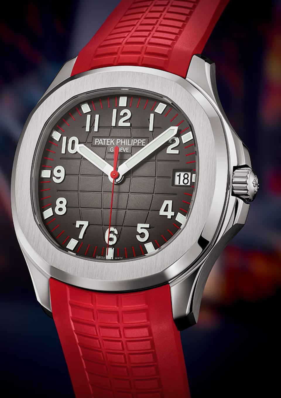 The new Patek Philippe Ref. 5167 Aquanaut, introduced at the Watch Art Grand Exhibition in Singapore.