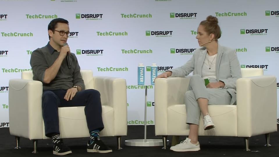 Joseph Gordon-Levitt with Jordan Crook at Disrupt SF
