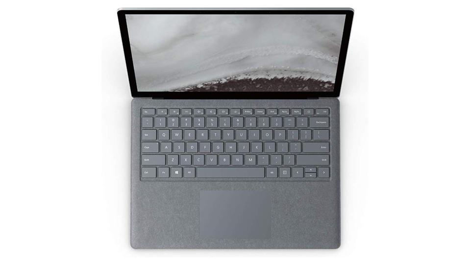 Gray Microsoft Surface Laptop 2 from the top.