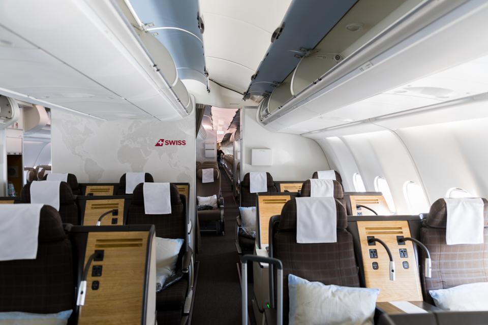 Boston, MA - View of Business Class cabin on a SWISS flight