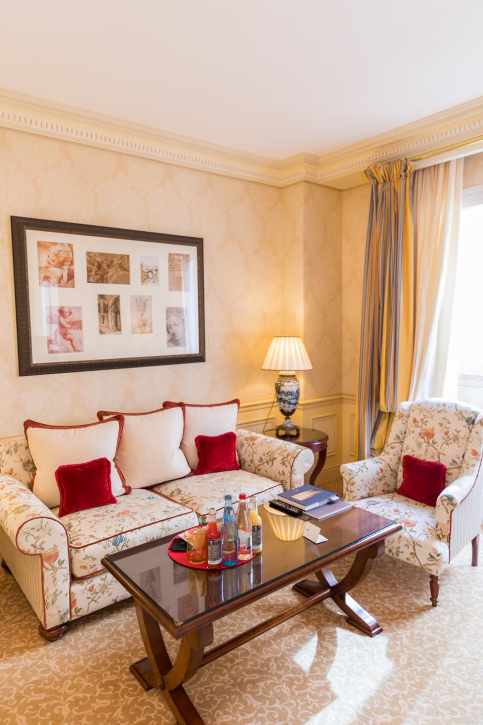 Monte Carlo - The living area in a junior suite at the Hotel Metropole