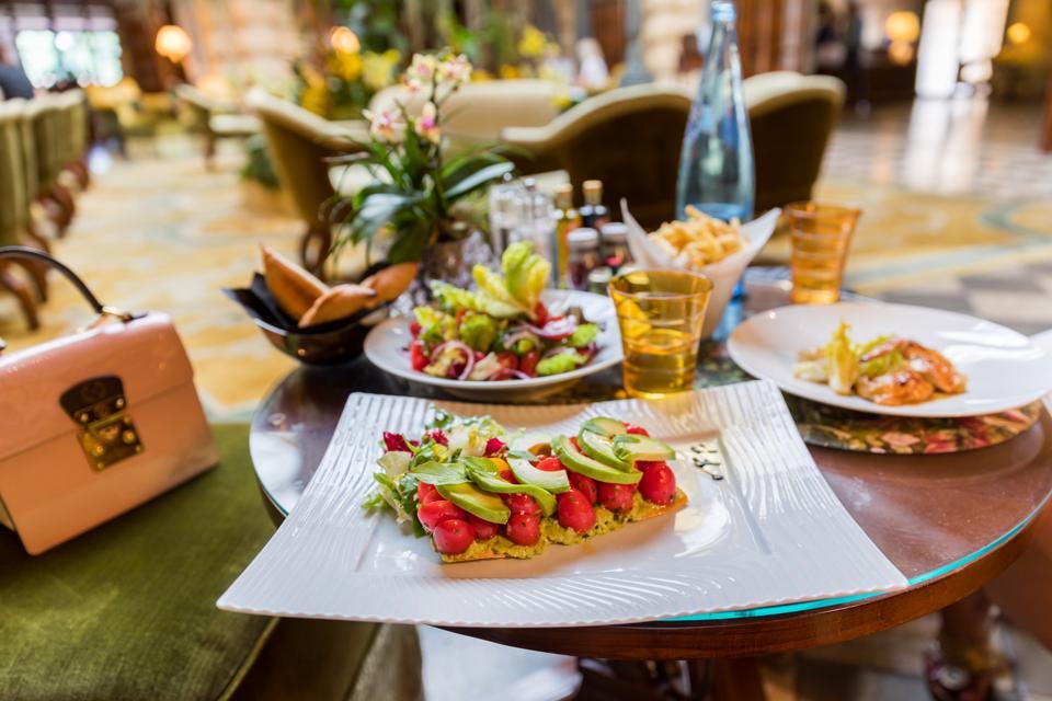 Monte Carlo - The avocado toast at the Hotel Metropole lobby restaurant