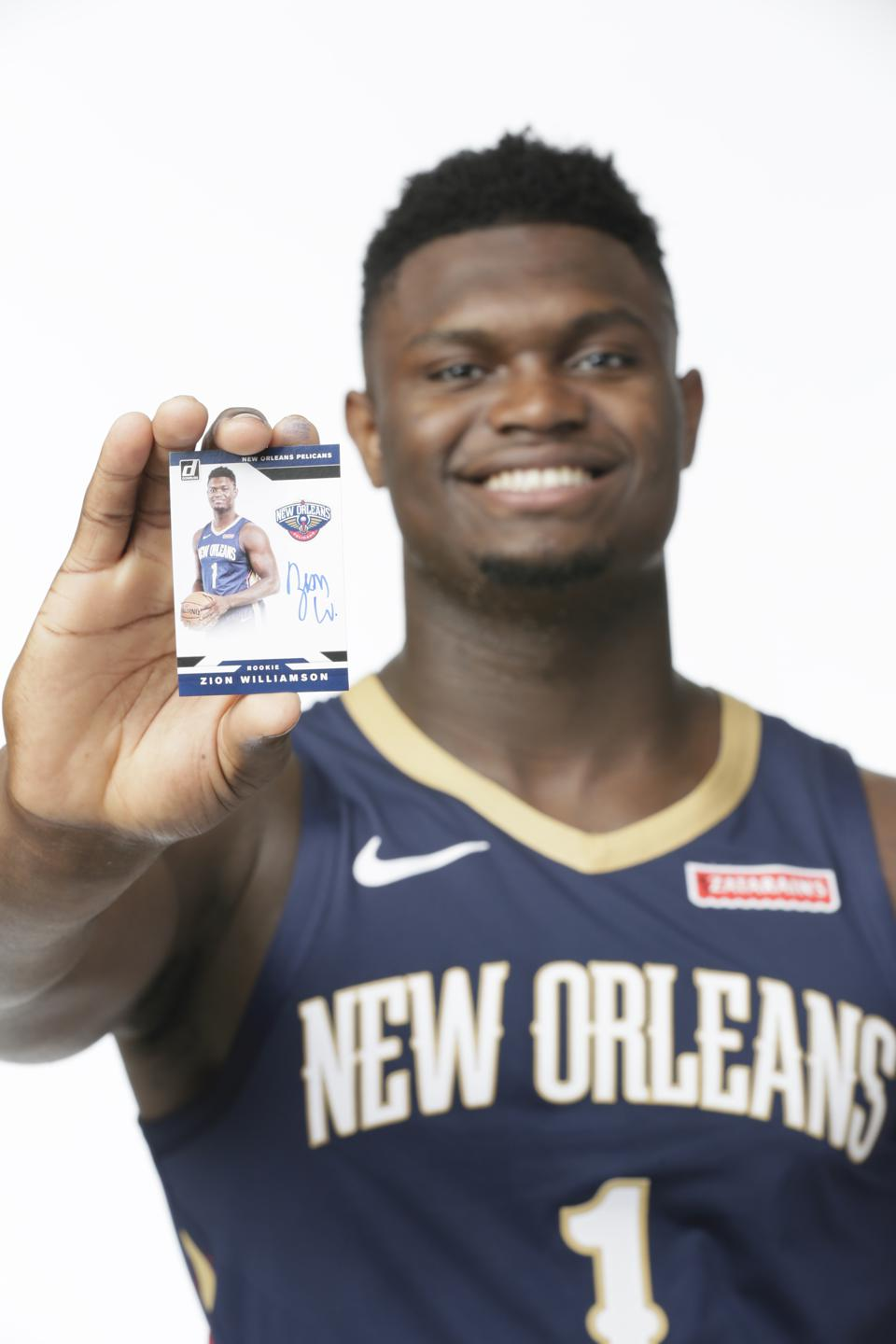 Zion Williamson is lifting the trading card industry with his Panini trading cards.