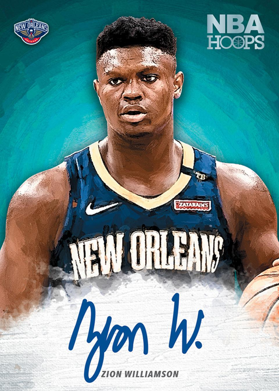Zion Williamson's NBA Hoops card arrives in mid-October.