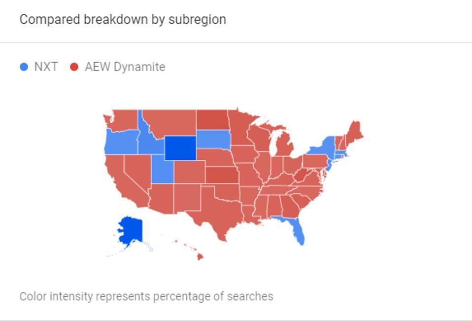 NXT on USA AEW Dynamite Google Trend WWE