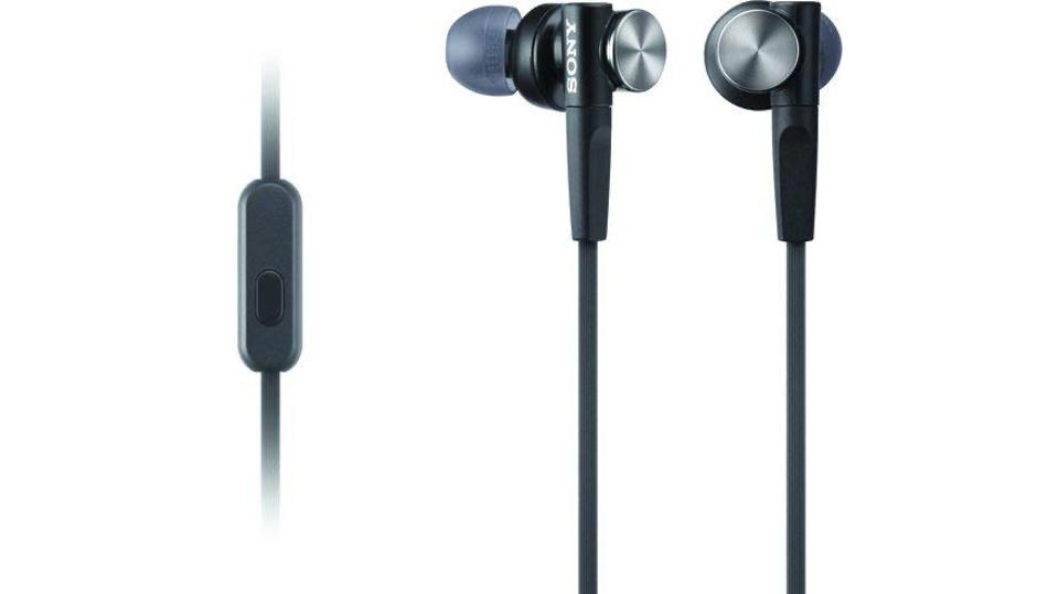 Sony MDRXB50AP earbuds and remote.