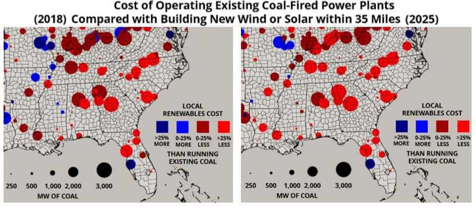 Cost of operating existing coal power plants compared with building new renewable energy