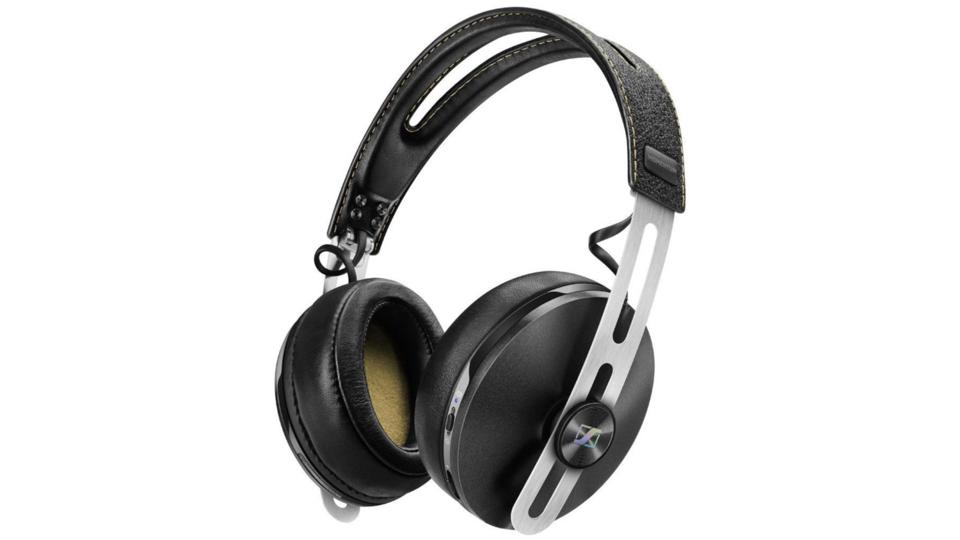 Black Sennheiser Momentum 2 Wireless headphones on a white background.