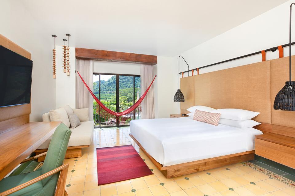 hotel room with hammock