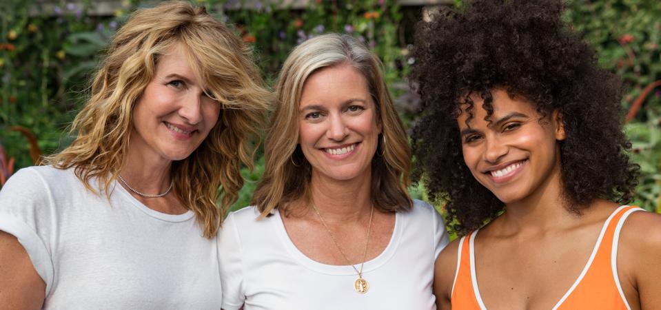 Celebrity Beauty: True Botanicals founder Hillary Peterson (center), with Laura Dern (left) and Zazie Beetz (right)