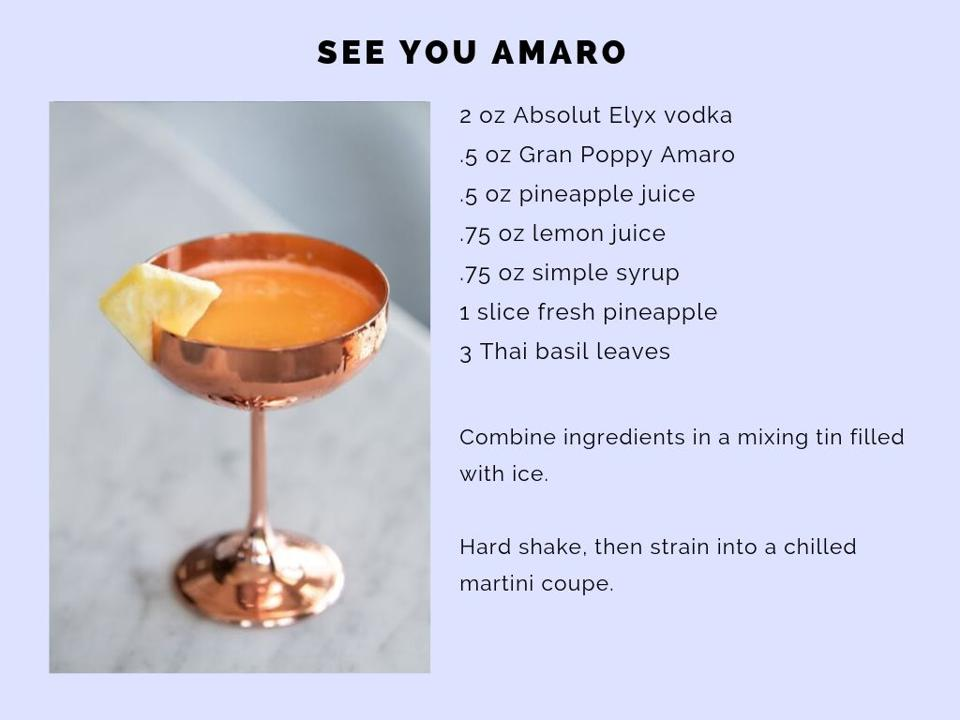The See You Amaro featuring Absolut Elyx.