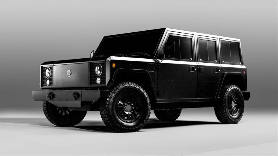 Black Bollinger Motors SUV on white background