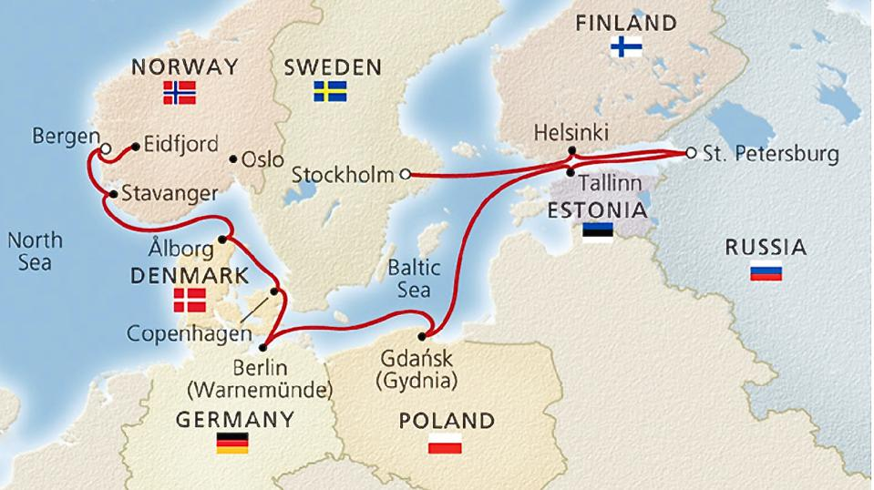 Viking Ocean Cruises, Viking Homelands map