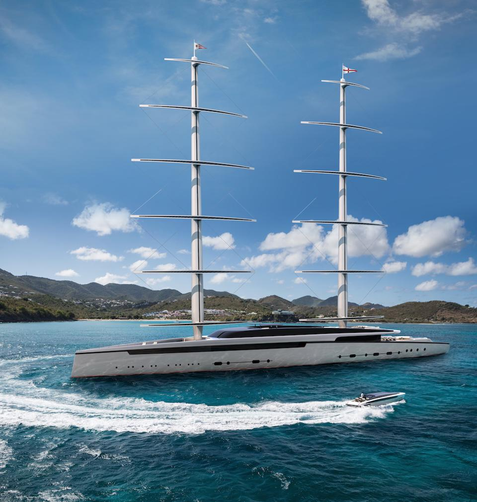 Royal Huisman's LOTUS features a 288-foot-long sailing superyacht with two DynaRig masts