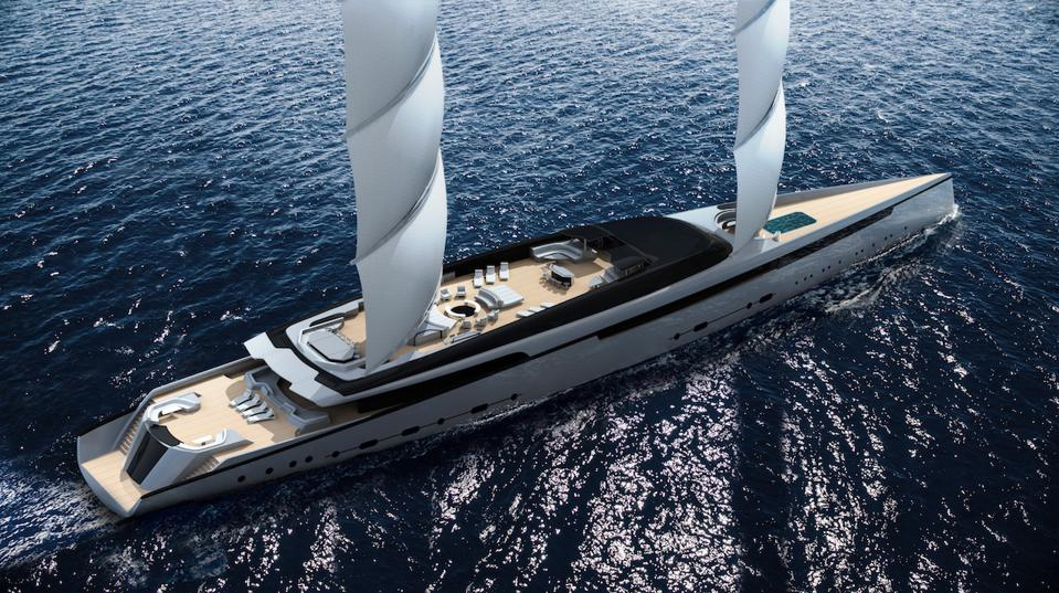Royal Huisman's project LOTUS features a 288-foot-long sailing superyacht with two high-tech DynaRig masts