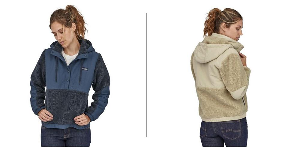 Patagonia Shelled Retro-X Fleece Pullover, shown on a woman