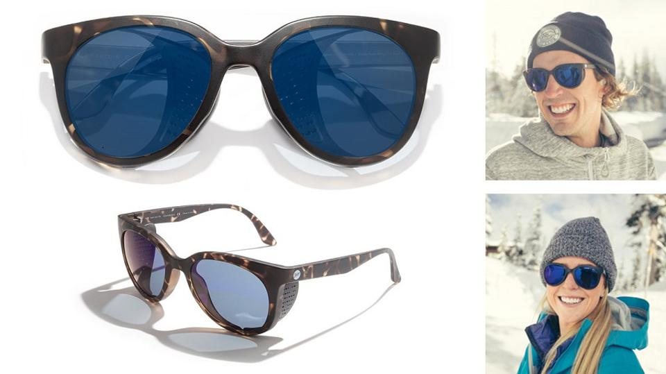 Sunski sunglasses, and on a man and woman, each  in the snow