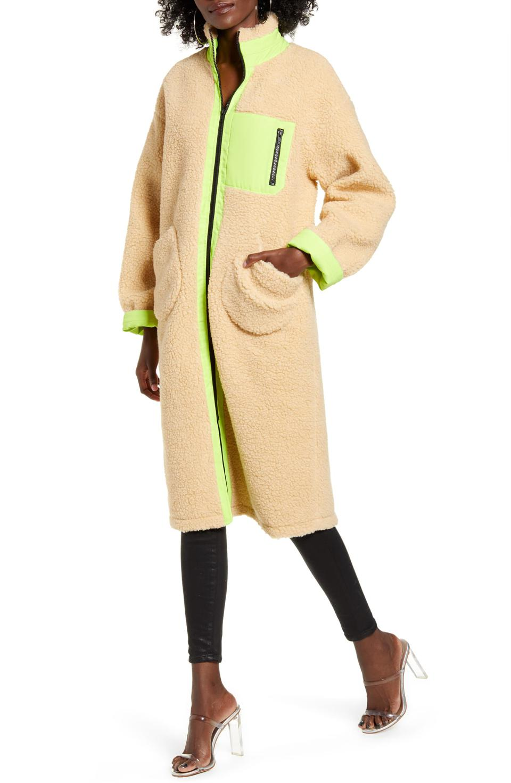 J.O.A. Longline Teddy Fleece Coat