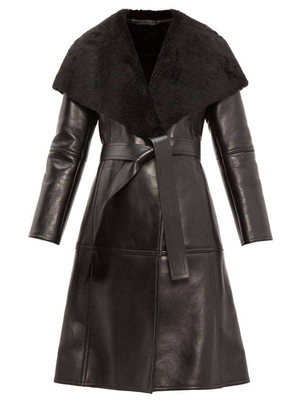 Balenciaga Shearling-Collar Single-Breasted Leather Coat