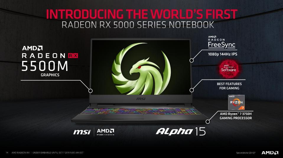 MSI Alpha 15 Laptop with Radeon RX 5500M