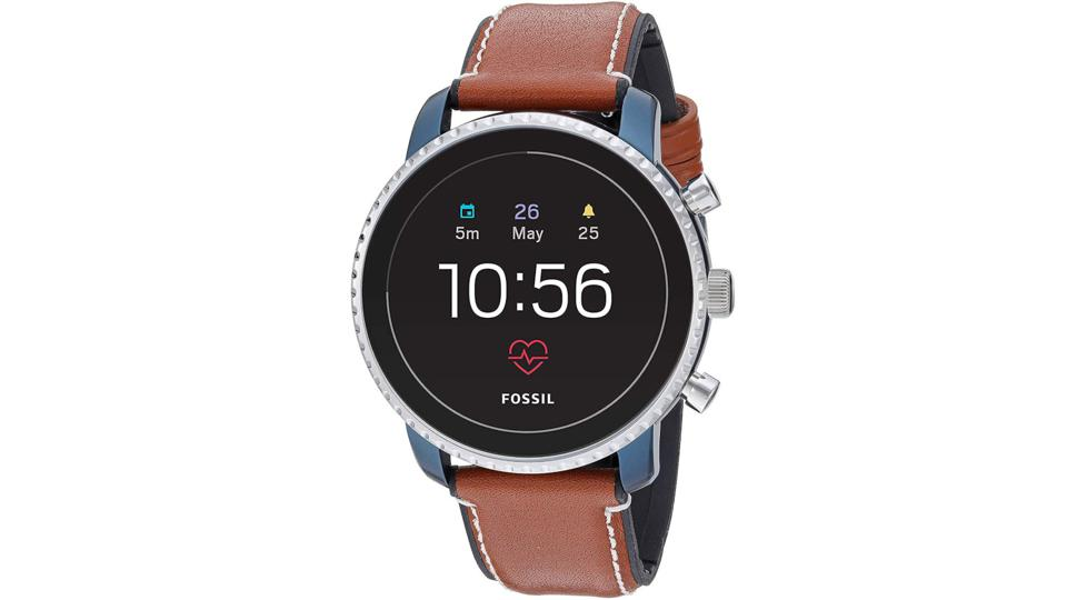 Silver Fossil Explorist HR smartwatch with brown leather band.
