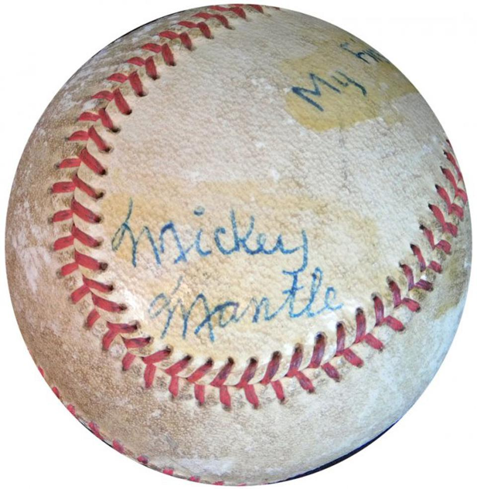 The earliest known dated signed Mickey Mantle baseball.