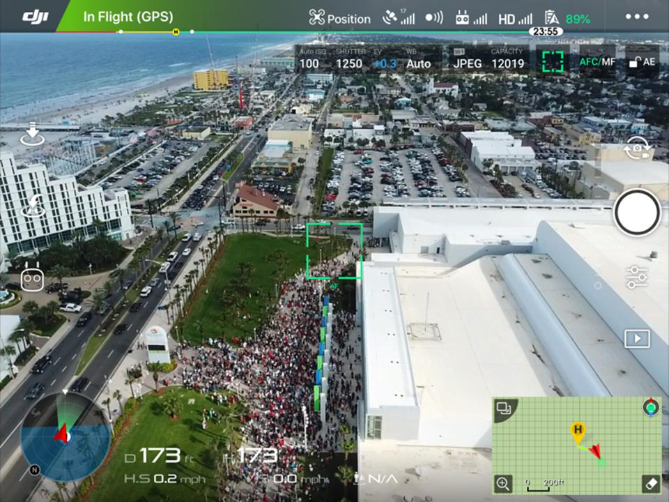 UAS flying over Daytona Beach