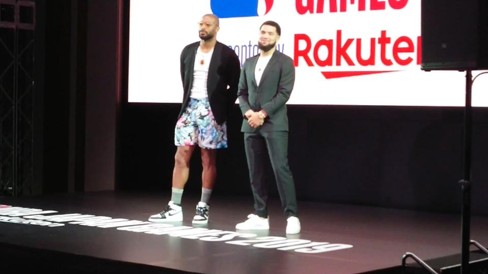 P.J. Tucker of the Houston Rockets and Fred VanVleet of the Toronto Raptors speak to Japanese fans at the NBA Japan Games 2019 Presented by Rakuten Welcome Reception in Tokyou, Japan, October 7, 2019.