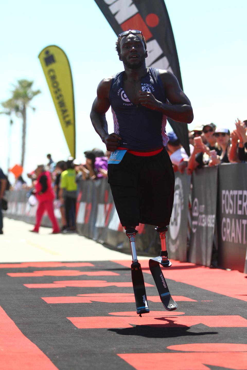 Roderick Sewell finishing the IRONMAN 70.3 Oceanside, in April 2019.