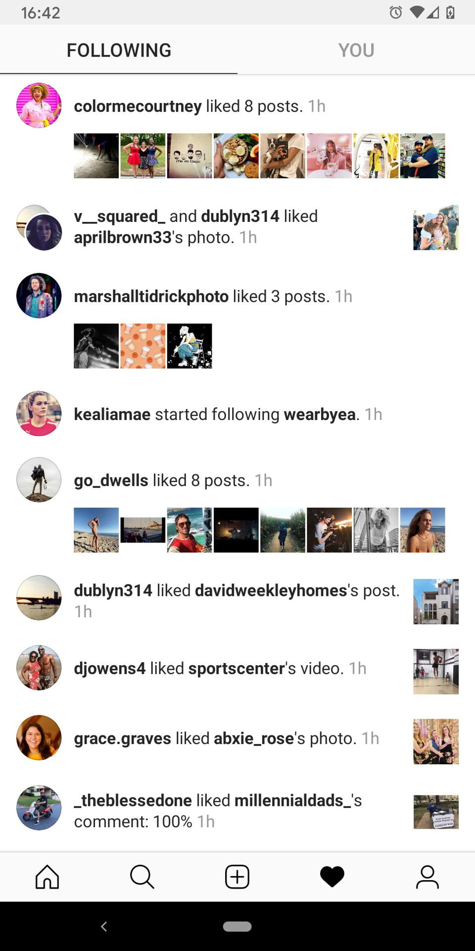 The ″Following″ tab on Instagram.