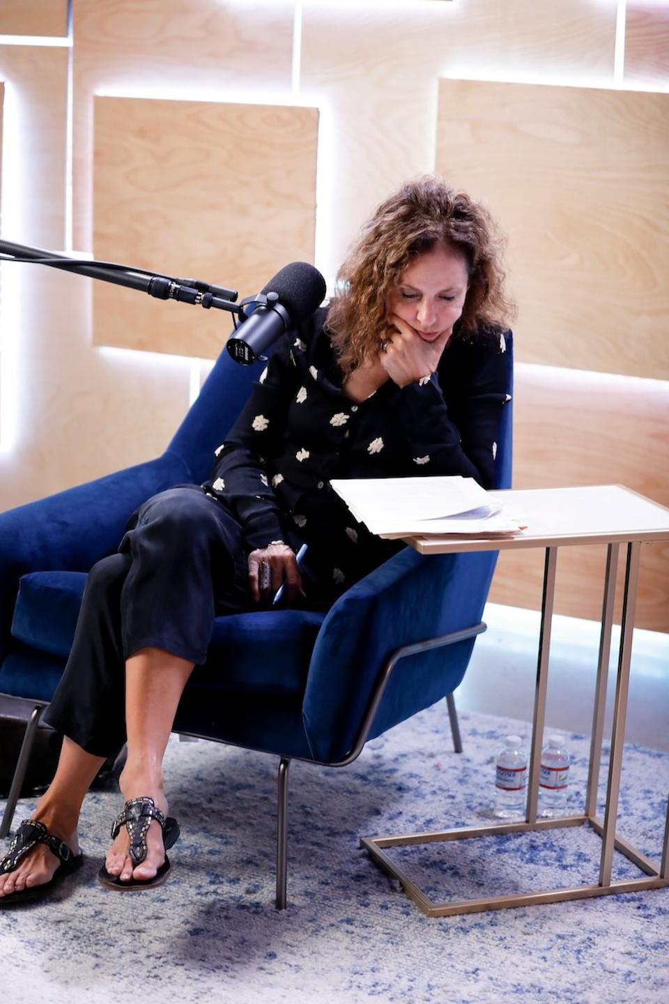 Actress Amy Brenneman working on her podcast, The Challengers