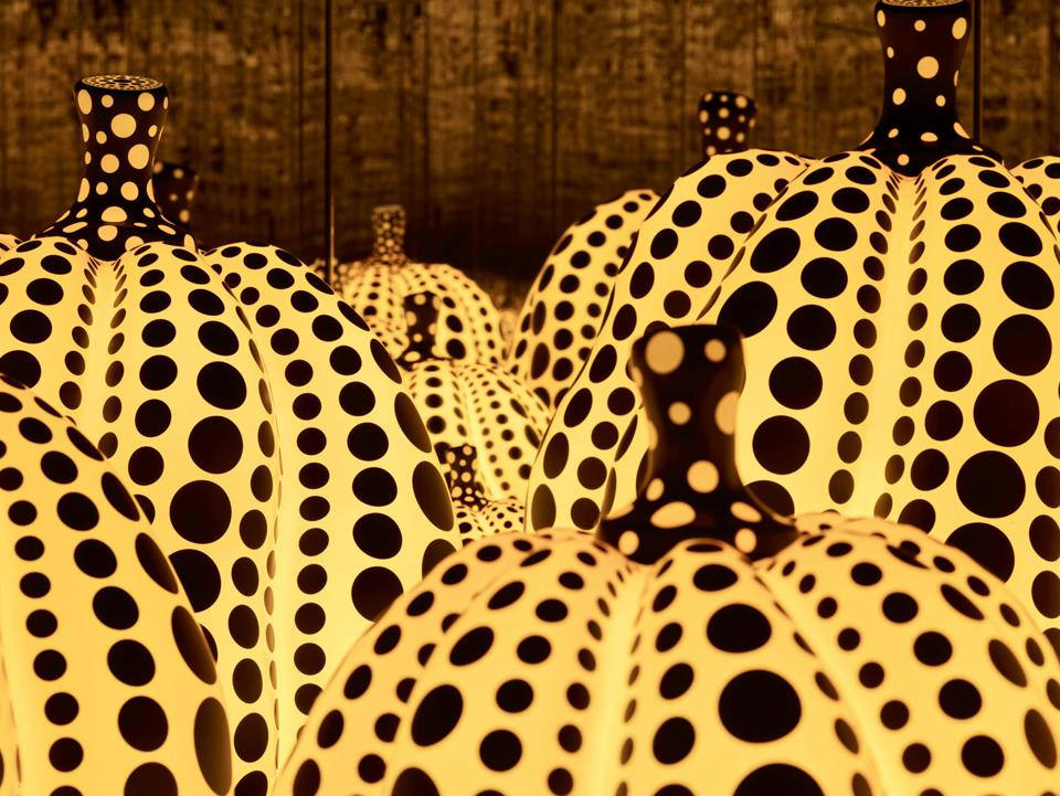 Yayoi Kusama (Japanese, b. 1929), All the Eternal Love I Have for the Pumpkins,  2016, wood, mirror, plastic, acrylic, LED, 115 1/8 × 163 3/8 × 163 3/8 in.