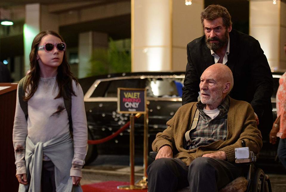 Patrick Stewart, Hugh Jackman, and Dafne Keen in 'Logan'