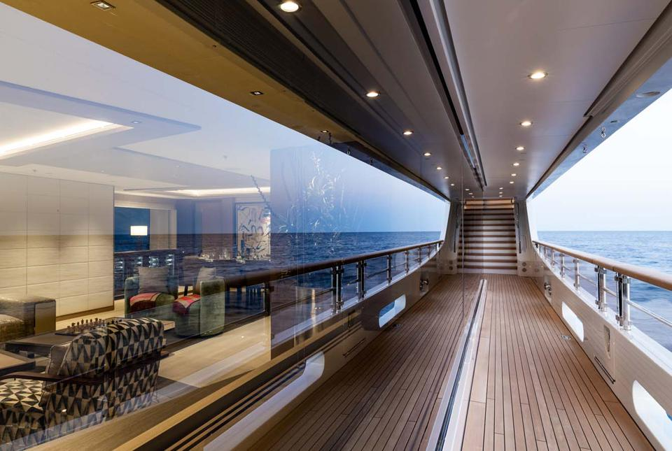 Floor to ceiling windows aboard the 200-foot long Benetti Metis.