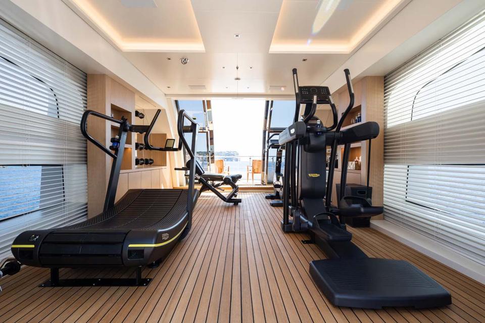 The custom gym aboard Metis