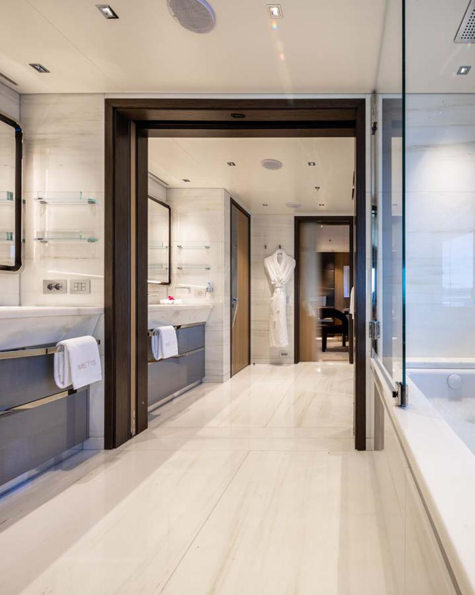 The his and hers bathrooms aboard Metis are as big as some NYC apartments!